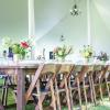 Gorgeous Farm Tables for a family style wedding on a private property.  Photo by Kelly Schatz Photography.  Event Coordination by Events by Jackie M.